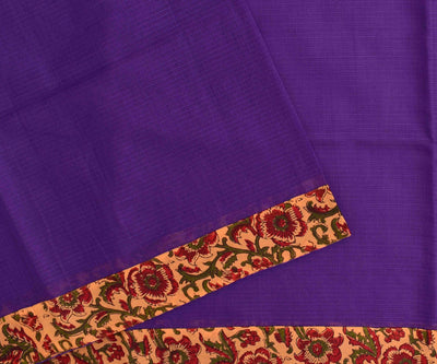 Violet Kota Saree With Mustard Floral Printed Cotton Blouse