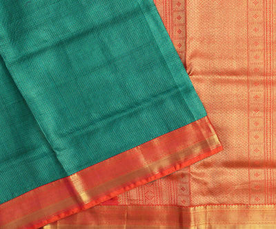 Peacock Green Checked Tussar Saree With Orange Kanchi Silk Blouse And Pallu