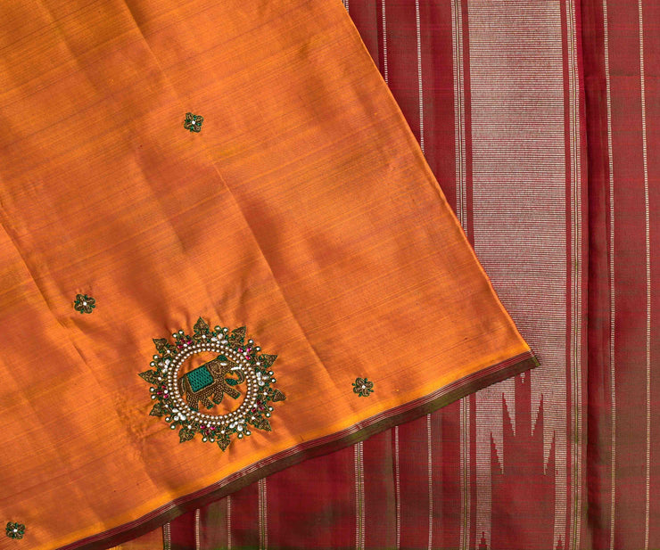 Fire Yellow Kanchi Silk Saree With Double Shaded Green Pallu Crafted With Zardosi Elephant Embroidery - With Blouse