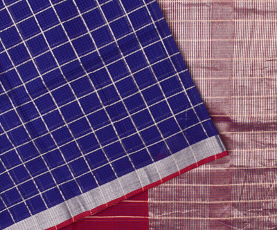 Indigo Blue Silver Zari Checked Mangalagiri Cotton Saree With Red Silver Zari Border With Dual Shaded Blouse