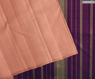Guava Muthuseer Line Kanchi Silk Saree With Magenta Kanchi Silk Pallu And Blouse
