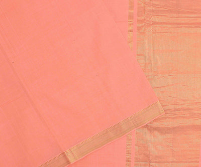 Peach Cotton Saree With Gold Zari Border