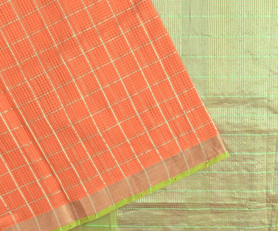 Orange Silver Zari Checked Mangalagiri Cotton Saree With Parrot Green Silver Zari Border With Dual Shaded Blouse