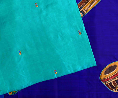 Turquoise Blue Kanchi Silk Saree With  Ms Blue Pallu Crafted With Kalamkari Applique - With Blouse