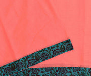 Coral Kota Saree With Green Floral Printed Chanderi  Blouse