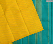 Yellow  Muthuseer Line Kanchi Silk Saree With Turquoise Green Pallu And Blouse