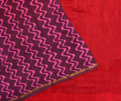Maroon Printed Chanderi Cotton Saree