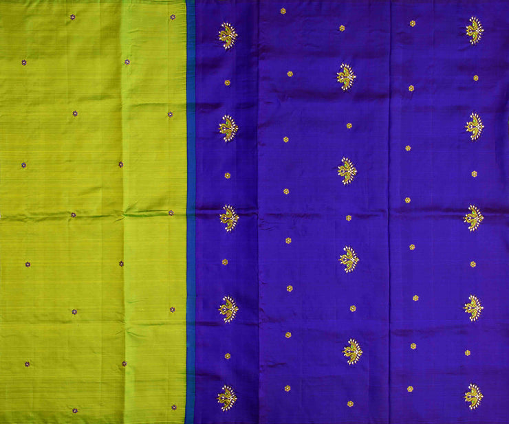 Parrot Green Kanchi Silk Saree Ms Blue  Pallu Crafted With Twin Bird Kundan Embroidery - With Blouse