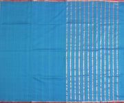 Sea Blue Cotton  Saree With Silver Zari Highlighted Border