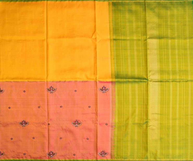 Orange Double Shaded Kanchi Silk Saree With Avacado Green Pallu Crafted With Twin Bird Kundan Embroidery - With Blouse
