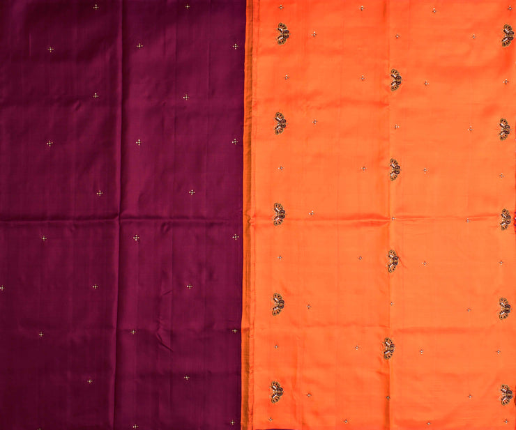 Maroon Kanchi Silk Saree With Fanta Orange Pallu Crafted With French Knot Butterfly Embroidery  - With Blouse
