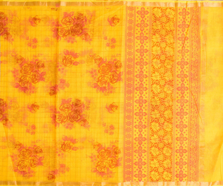 Yellow Floral Checked Kota Cotton Saree With Floral Printed Blouse