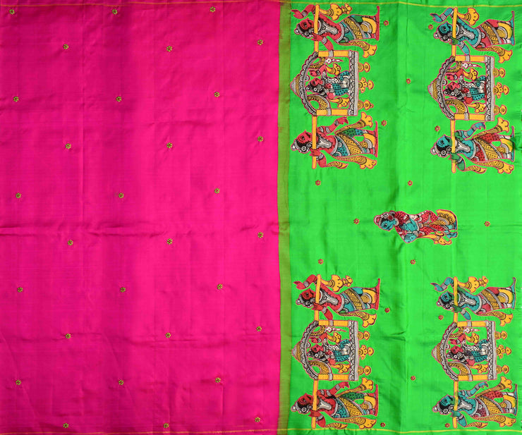 Rose Kanchi Silk Saree With Parrot Green Pallu Crafted With Kalamkari Applique - With Blouse