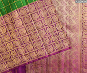 Forest Green Kattam Design Kanchi Silk Saree With Magenta Annapakshi Long Border and Blouse