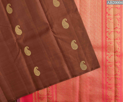 Sienna Mango Button Kanchi Silk Saree With Rose Annapakshi And Mango Pallu and Blouse