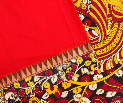 Red Cotton Saree With Temple And Kalamkari Border