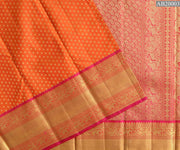 Orange Red Kamalam Button Kanchi Silk Saree With Rose Zari Border and Blouse