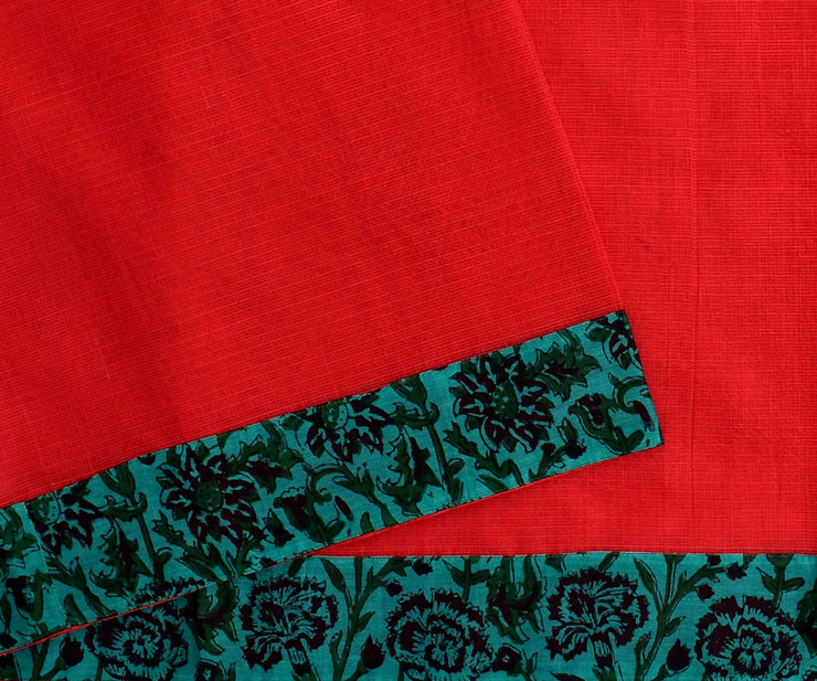 Red Kota Saree With Teal Floral Printed  Blouse