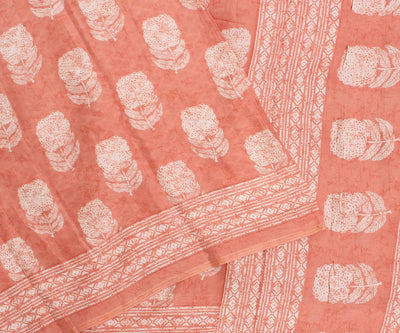 Salmon Peach Crepe Silk Saree With Floral Printed Design