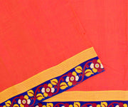 Peach Cotton Saree With Blue Floral Kalamkari Border And Blouse