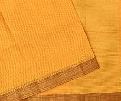 Yellow And Orange Dual Mangalagiri Cotton Saree With Red Temple Zari Border With Blouse