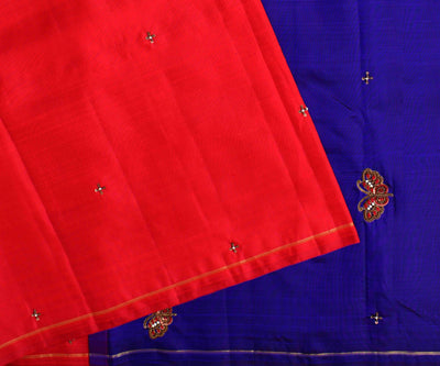 Red Kanchi Silk Saree With Ms Blue Pallu Crafted With French Knot Butterfly Embroidery  - With Blouse