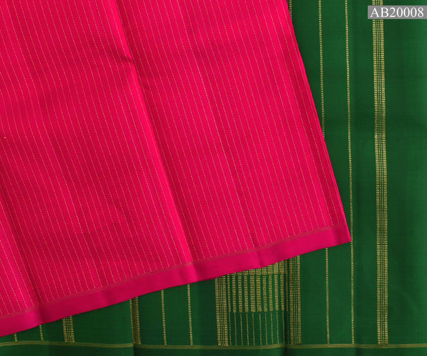 Rose Muthuseer Line Kanchi Silk Saree With Forest Green Kanchi Silk Pallu And Blouse