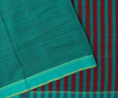 Teal Blue Mangalagiri Cotton Saree With Red And Green Border With Blouse