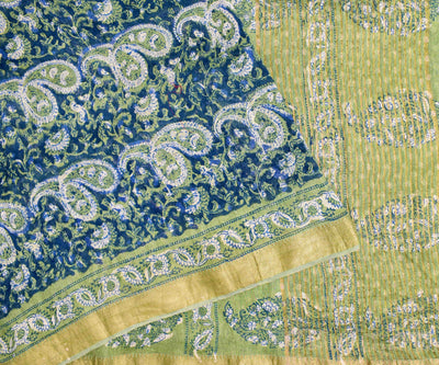 Navy Blue Paisley Floral Printed Linen Saree With Pista Green Printed Blouse