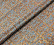 Grey Banarasi  Silk Fabric With Checked Antique Zari