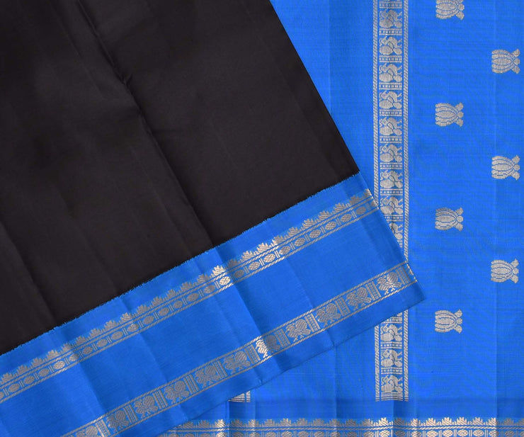 Black Kanchi Silk Saree With Crayola Cerulean Blue Border