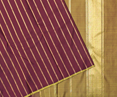 Coffee Brown Kanchi Silk Saree With Olive Green Pallu