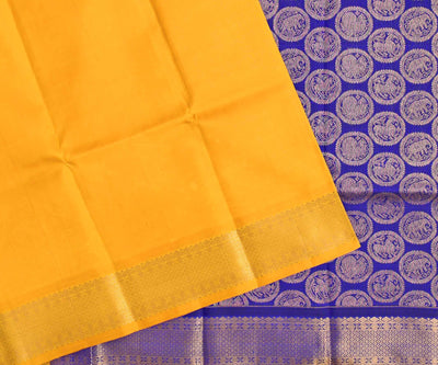 Yellow Kanchi Silk Saree With Ms Blue Animal  Butta Blouse