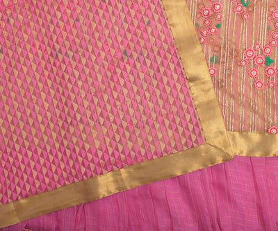 Pink And Gold Frill Saree With Thread Embroidered Pallu