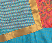 Blue Striped Saree With Kantha Embroidery Frill Saree