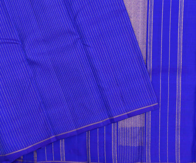 Ink Blue Striped Kanchi Silk Saree With Ocean Blue Double Shaded Blouse