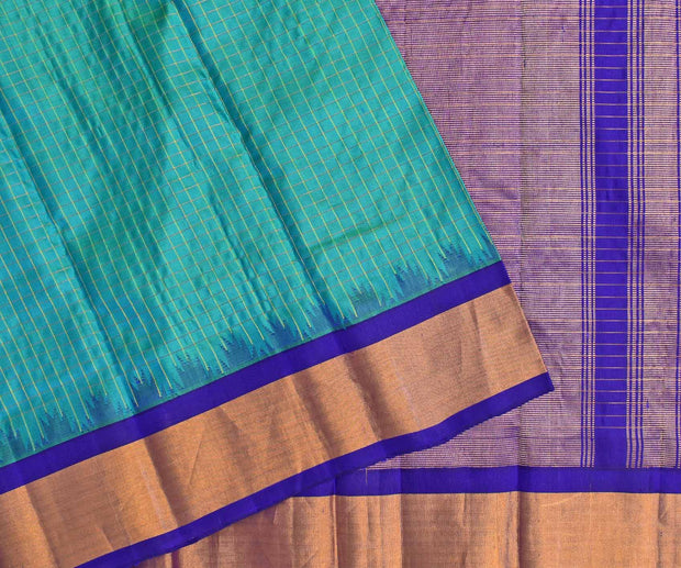 Ocean Blue Double Shaded Gadwal Silk Saree With MS Blue Blouse