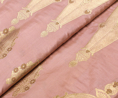Crepe Pink Banrasi Silk Fabric With Zari Highlights