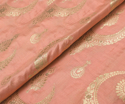 Coral Pink Banarasi Silk Fabric With Jewellery Zari Highlights