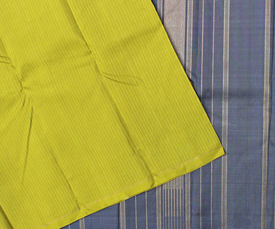 Avocado Green Striped Kanchi Silk Saree With Indigo Blue Pallu