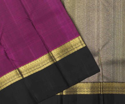 Magenta Kanchi Silk Saree With Black Grand Border And Pallu