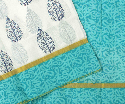 Off White And  Blue  Printed Bengal Cotton Saree