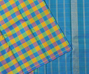 Multi Color Checked Kanchi Silk Saree With Double Shaded Stripe Blouse