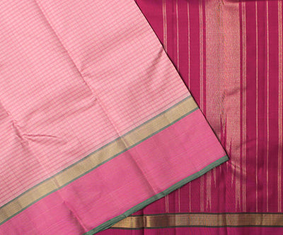 Crepe Checked Kanchi Silk Saree With Magenta Pallu