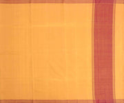 Mustard Cotton Saree With Geometrical Maroon Border