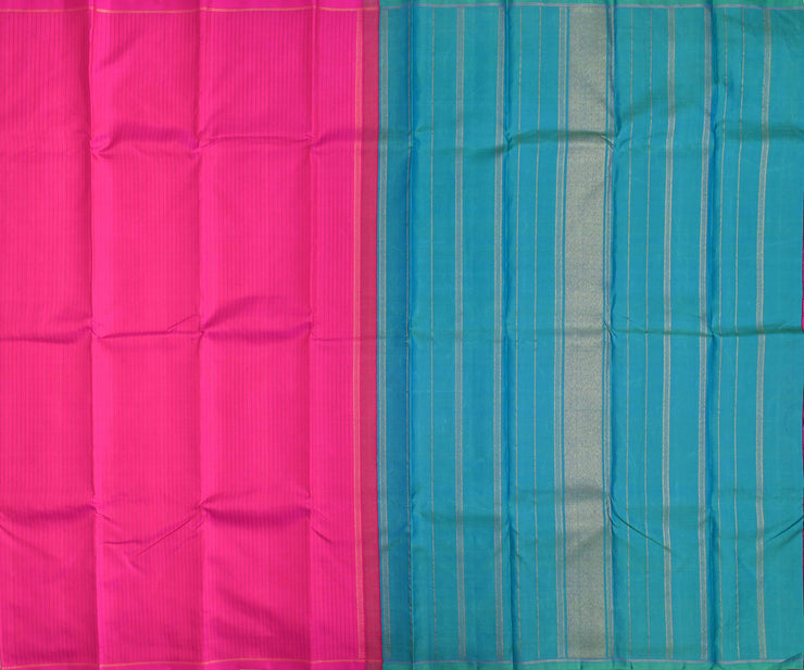 Magenta Striped Kanchi Silk Saree With Ocean Blue Double Shaded Blouse
