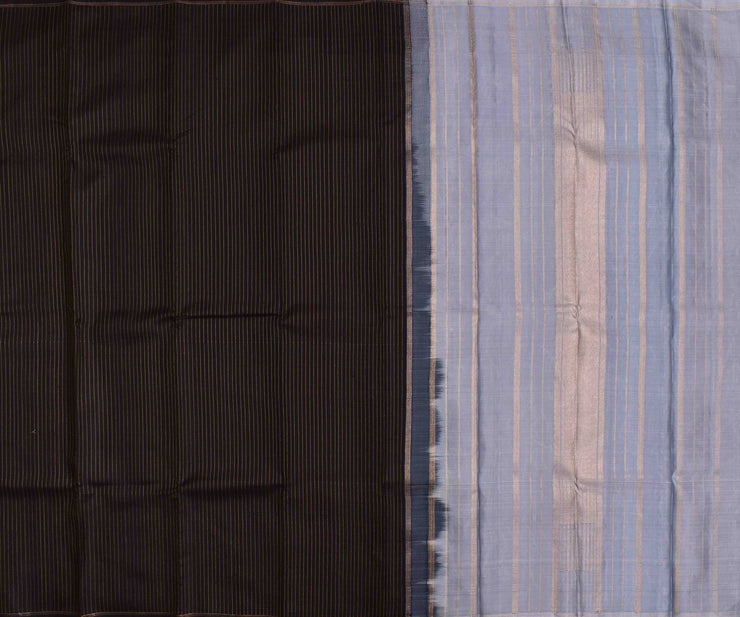 Black Striped Kanchi Silk Saree With Grey Blouse