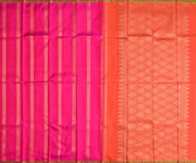 Pink Striped Kanchi Silk Saree With Orange Striped Zari Blouse