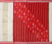 Off White Gold Printed Bengal Cotton Saree With Red Floral Blouse