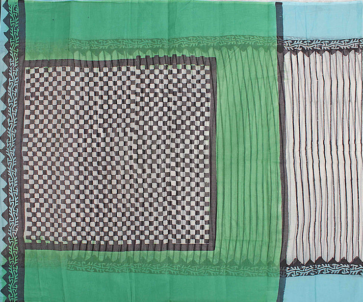 Off White Striped Cotton Saree With Sky Blue Blouse